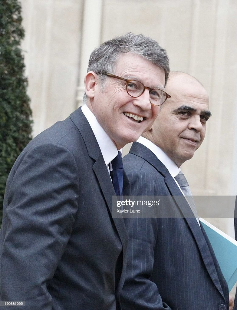 French Minister Vincent Peillon and Kader Arif depart the French Cabinet Meeting at Elysee Palace on January 30, 2013 in Paris, France.