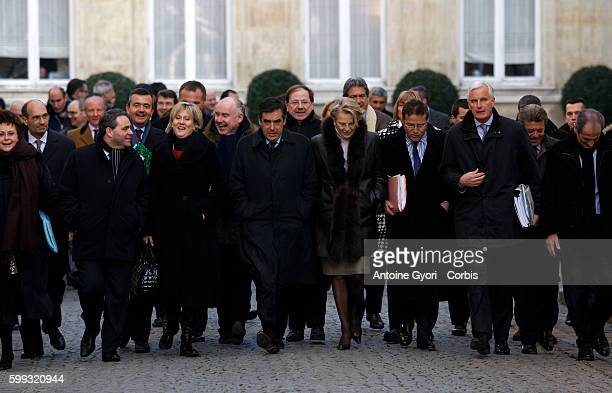 French ministers in the courtyard of the Elysee Palace for the first weekly cabinet meeting of the year Xavier Bertrand Nadine Morano Francois Fillon...