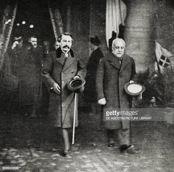 French ministers Leon Bourgeois and Aristide Briand leaving the station of Rome ItaloFrench conference of February 1916 Rome Italy photo by Ferri...