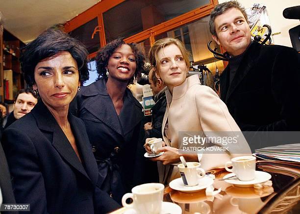 French ministers Rachida Dati Rama Yade Nathalie KosciuskoMorizet and Laurent Vauquiez drink a coffee at the bar 'La table de Gaspard' before...