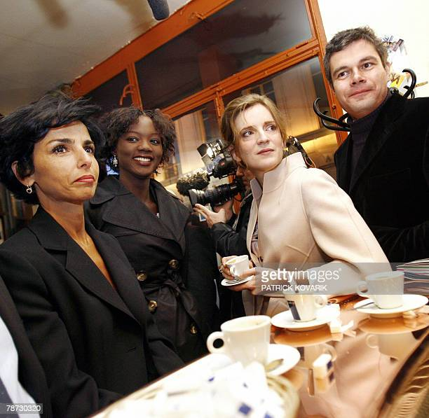 French ministers Rachida Dati Rama Yade Nathalie KosciuskoMorizet and Laurent Vauquiez have a coffee at the bar 'La table de Gaspard' before...