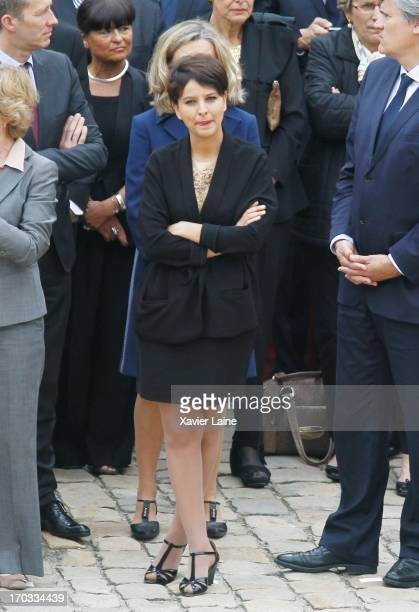 French Ministor Najat VallaudBelkacem attends the ceremony paying tribute to former Socialist Prime Minister Pierre Mauroy at Les Invalides on June...