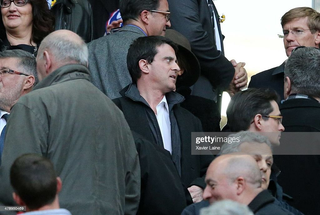French ministor of interior Manuel Valls attends the RBS 6 Nations match between France and Ireland at Stade de France on march 15, 2014 in Paris, France.