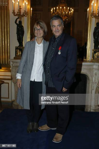 French Ministre of Culture Francoise Nyssen poses with Israeli Filmmaker Amos Gitai after awarding him with the Chevalier De L'Ordre National De La...