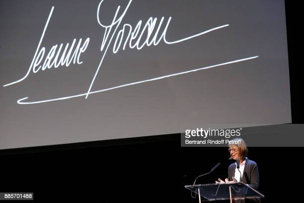 French Ministre of Culture Francoise Nyssen presents the Tribute to Actress Jeanne Moreau at Odeon Theatre on December 4 2017 in Paris France