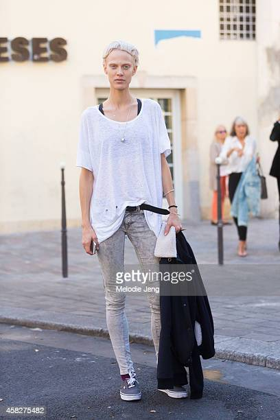 French model Ayemelien Valade exits the Haider Ackermann show at Couvent des Cordeliers in Vans sneakers on Day 5 of Paris Fashion Week Spring/Summer...