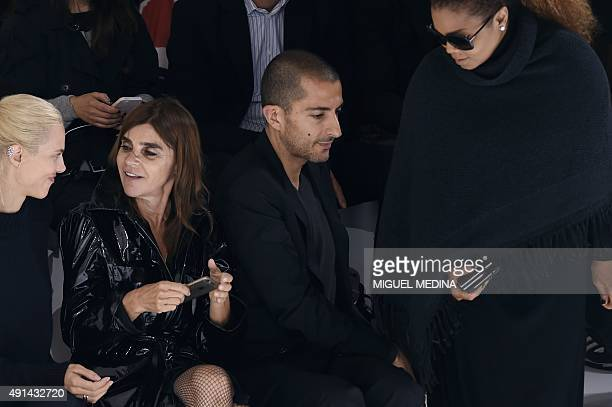 French model Aymeline Valade French fashion editor Carine Roitfeld US singer Janet Jackson and husband Wissam Al Mana attend Hermes 2016...