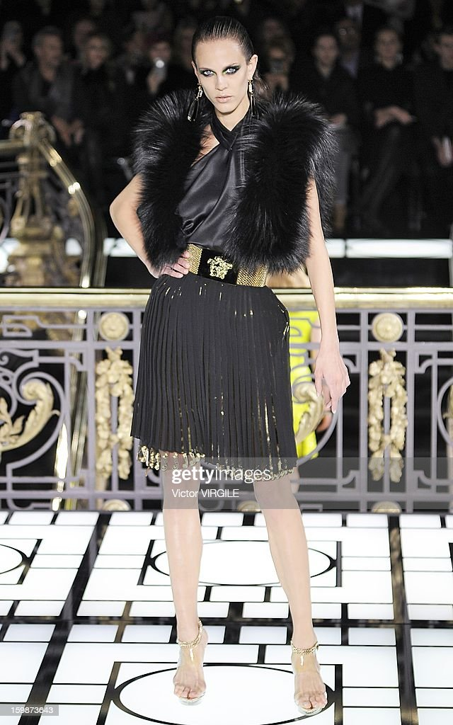 French model Aymeline Valade walks the runway during the Atelier Versace Spring/Summer 2013 Haute-Couture show as part of Paris Fashion Week at Le Centorial on January 20, 2013 in Paris, France.