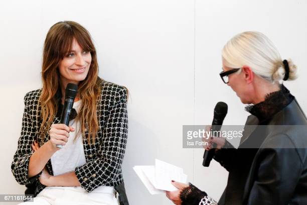 French model Caroline de Maigret and Vogue Germany chief editor Christiane Arp during the Chanel popup store opening at Soho House on April 19 2017...