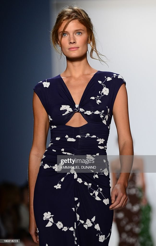 French model Constance Jablonski displays creations by designer Michael Kors during the Mercedes-Benz Fashion Week Spring 2014 collection in New York on September 11, 2013. AFP PHOTO/Emmanuel Dunand