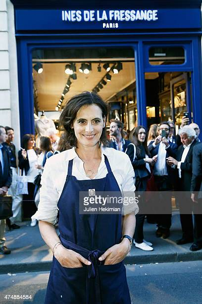 French model Ines de la Fressange attends her boutique opening on May 27 2015 in Paris France