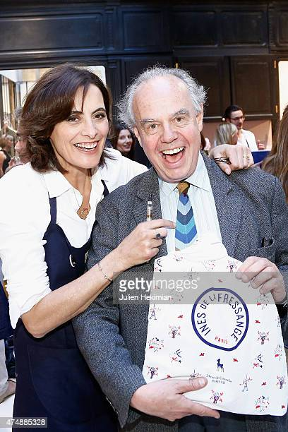 French model Ines de la Fressange attends her boutique opening with former Minister for Culture Frederic Mitterrand on May 27 2015 in Paris France