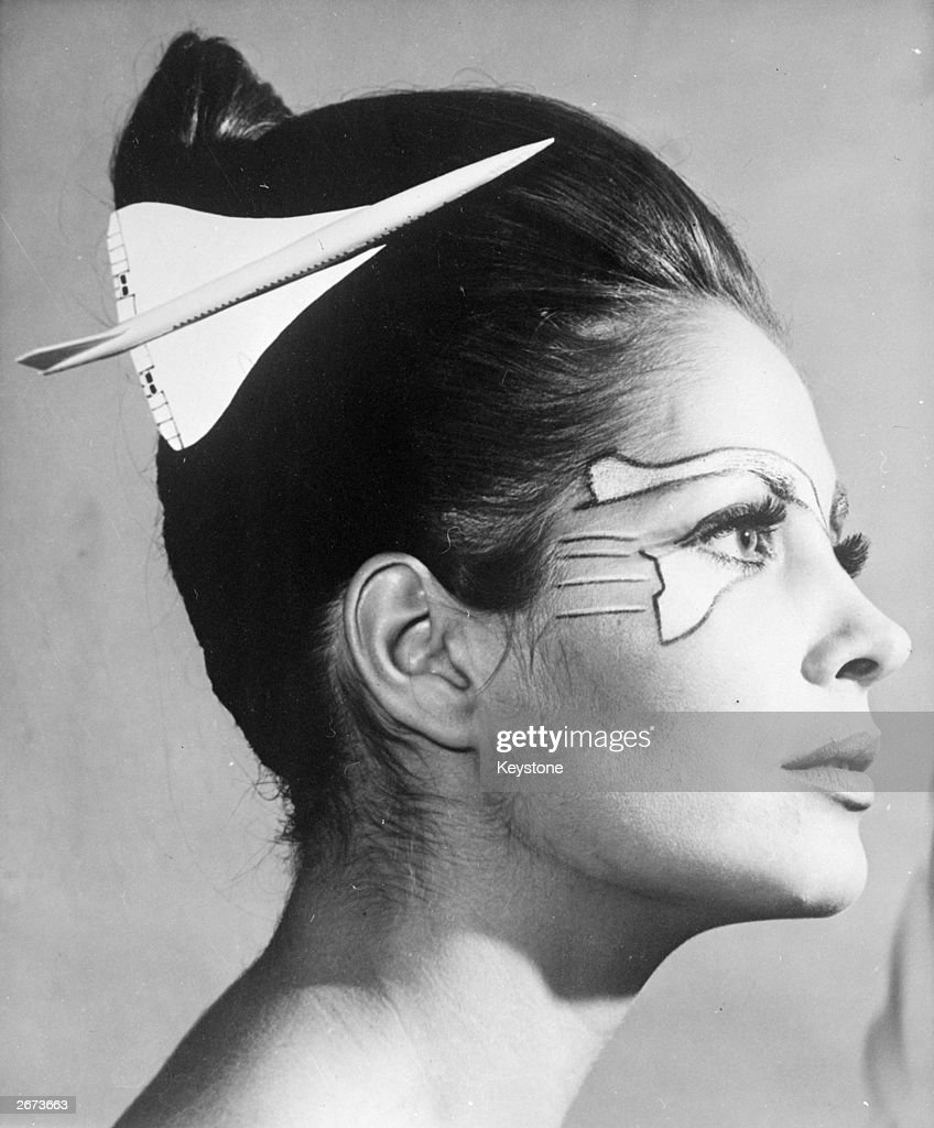 A French model with a hairstyle and matching make-up based on Concorde, May 24, 1969.