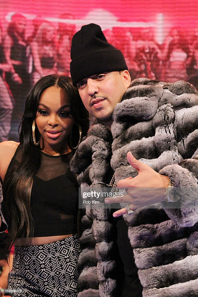 <a gi-track='captionPersonalityLinkClicked' href=/galleries/search?phrase=French+Montana&family=editorial&specificpeople=7131467 ng-click='$event.stopPropagation()'>French Montana</a> (R) and host <a gi-track='captionPersonalityLinkClicked' href=/galleries/search?phrase=Kimberly+Paigion+Walker&family=editorial&specificpeople=9802281 ng-click='$event.stopPropagation()'>Kimberly Paigion Walker</a> visit BET's '106 & Park' at BET Studios on March 7, 2013 in New York City.