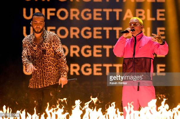 French Montana and J Balvin perform onstage at the 18th Annual Latin Grammy Awards at MGM Grand Garden Arena on November 16 2017 in Las Vegas Nevada