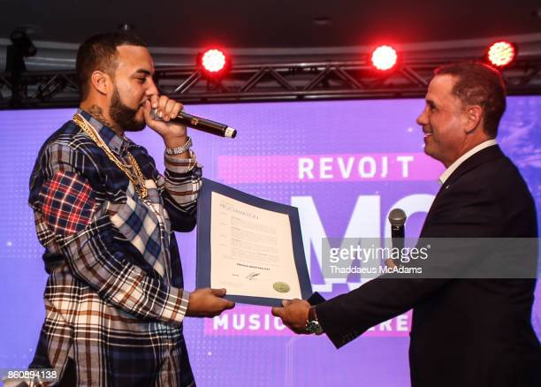 French Montana and Mayor Philip Levine at Eden Roc Hotel on October 12 2017 in Miami Beach Florida