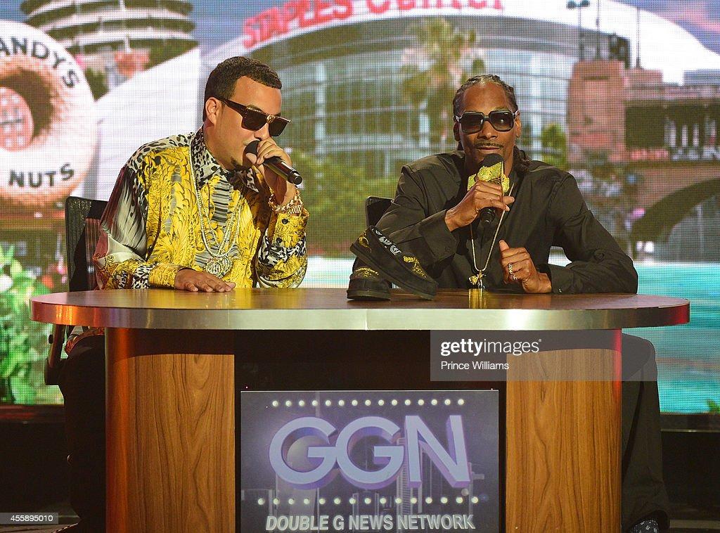French Montana and Snoop Dogg perform at the BET Hip Hop awards at Boisfeuillet Jones Atlanta Civic Center on September 20 2014 in Atlanta Georgia