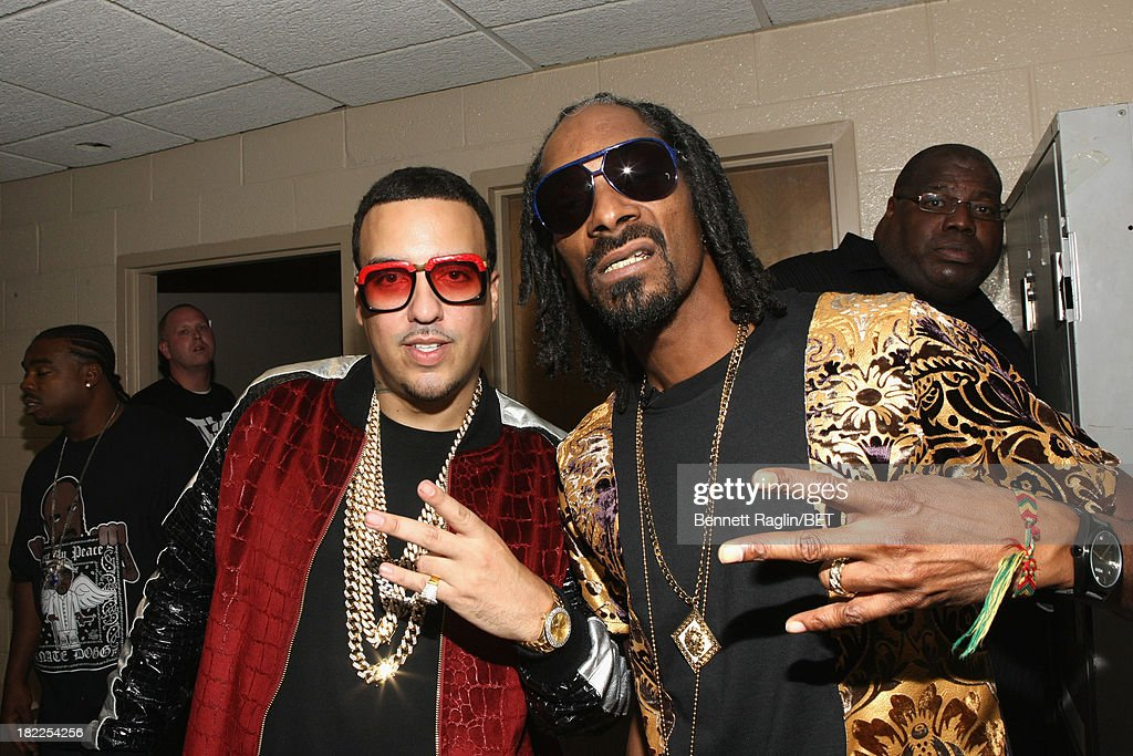 <a gi-track='captionPersonalityLinkClicked' href=/galleries/search?phrase=French+Montana&family=editorial&specificpeople=7131467 ng-click='$event.stopPropagation()'>French Montana</a> and Uncle Snoop pose backstage at the BET Hip Hop Awards 2013 at Boisfeuillet Jones Atlanta Civic Center on September 28, 2013 in Atlanta, Georgia.