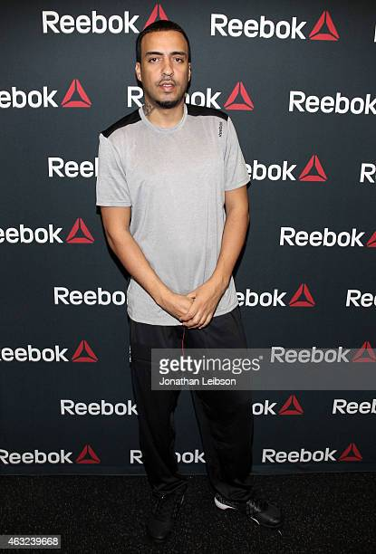 French Montana attends the Reebok Seeding Lounge Workout with French Montana Lita Lewis And DJ Drama at Reebok Lounge on February 11 2015 in West...