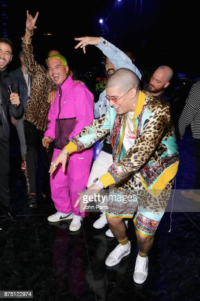 French Montana J Balvin Steve Aoki and Bad Bunny attend The 18th Annual Latin Grammy Awards at MGM Grand Garden Arena on November 16 2017 in Las...