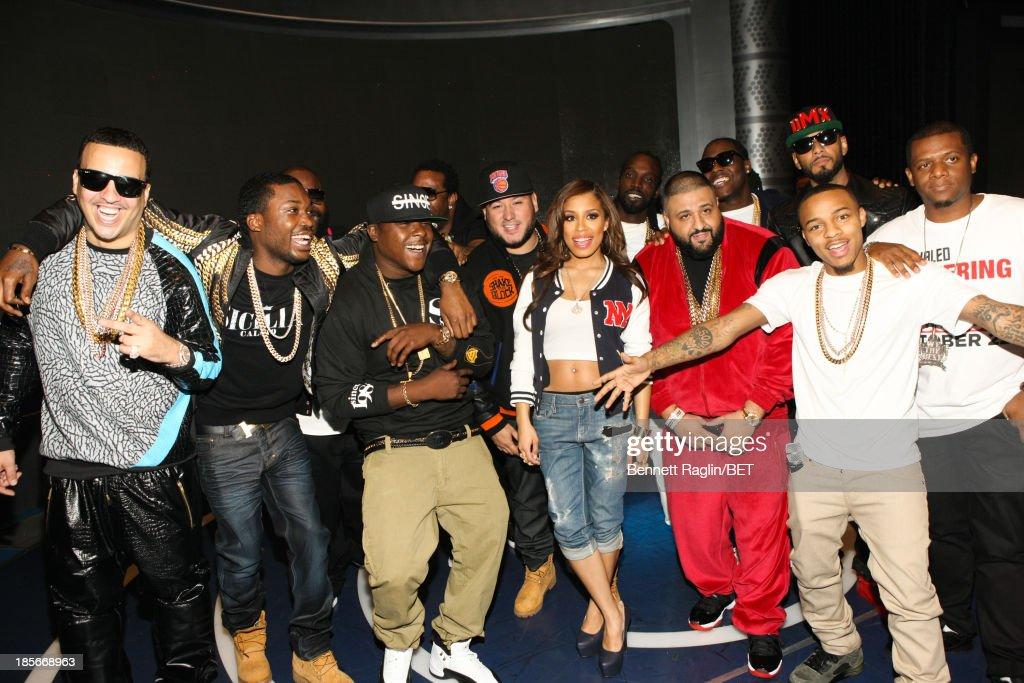 French Montana, Meek Mill, Rick Ross, Jadakiss, Busta Rhymes, Keshia Chante, DJ Khaled, Ace Hood, Swizz Beatz, and Bow Wow attend 106 & Park at 106 & Park studio on October 22, 2013 in New York City.