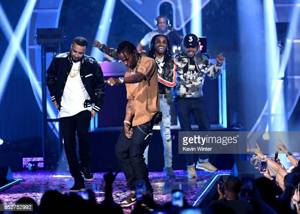 French Montana Travis Scott Chance the Rapper and Quavo perform onstage during the 2017 iHeartRadio Music Festival at TMobile Arena on September 23...