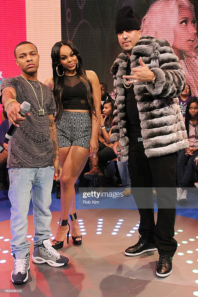 <a gi-track='captionPersonalityLinkClicked' href=/galleries/search?phrase=French+Montana&family=editorial&specificpeople=7131467 ng-click='$event.stopPropagation()'>French Montana</a> (R) with hosts <a gi-track='captionPersonalityLinkClicked' href=/galleries/search?phrase=Bow+Wow+-+Rapper&family=editorial&specificpeople=211211 ng-click='$event.stopPropagation()'>Bow Wow</a> and <a gi-track='captionPersonalityLinkClicked' href=/galleries/search?phrase=Kimberly+Paigion+Walker&family=editorial&specificpeople=9802281 ng-click='$event.stopPropagation()'>Kimberly Paigion Walker</a> visit BET's '106 & Park' at BET Studios on March 7, 2013 in New York City.