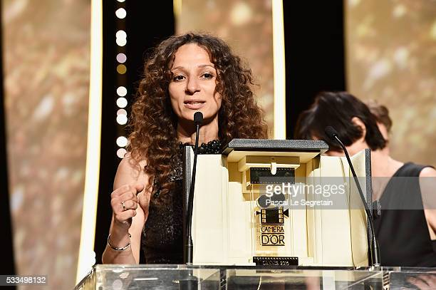 French Moroccan director Houda Benyamina talks on stage after being awarded with the Camera d'Or during the Closing Ceremony at the annual 69th...