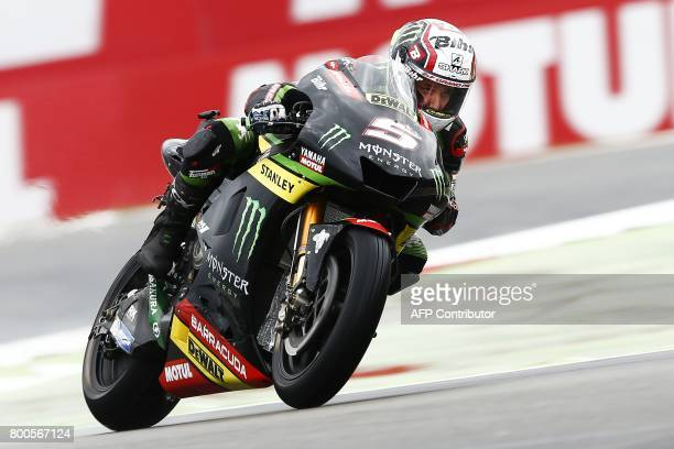 French MotoGP rider Johann Zarco of the Monster Yamaha Tech 3 team takes part in qualifications of the Motorcycling Grand Prix of Assen at TT circuit...