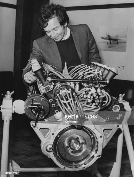 French motorcycle racer JeanPierre Beltoise with the Matra Sports V12 engine during the official presentation of the Formula One combustion engine at...