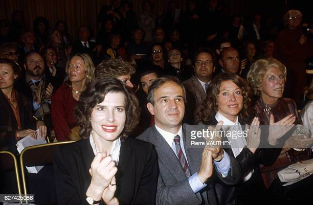 French movie actress Fanny Ardant movie director Francois Truffaut publicist Yanou Collart and France's former First Lady Madame Pompidou applaud the...