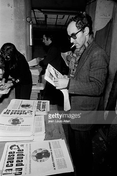 French movie director JeanLuc Godard at the offices of French leftist newspaper La Cause du Peuple