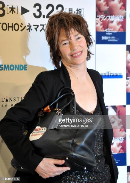 French Movie Festival In Tokyo Japan On March 18 2010 Delegation leader actress Jane Birkin makes a pose to cameras after a press conference of...