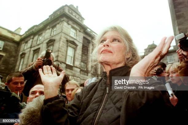 French movie legend turned animal rights campaigner Brigitte Bardot celebrates outside Edinburghs High court after Woofie the condemmed dog was saved...