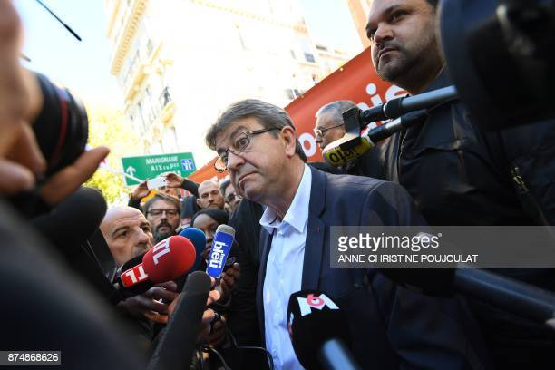 French MP and leader of the leftist party La France Insoumise JeanLuc Melenchon speaks to the press during a nationwide protest day against the...