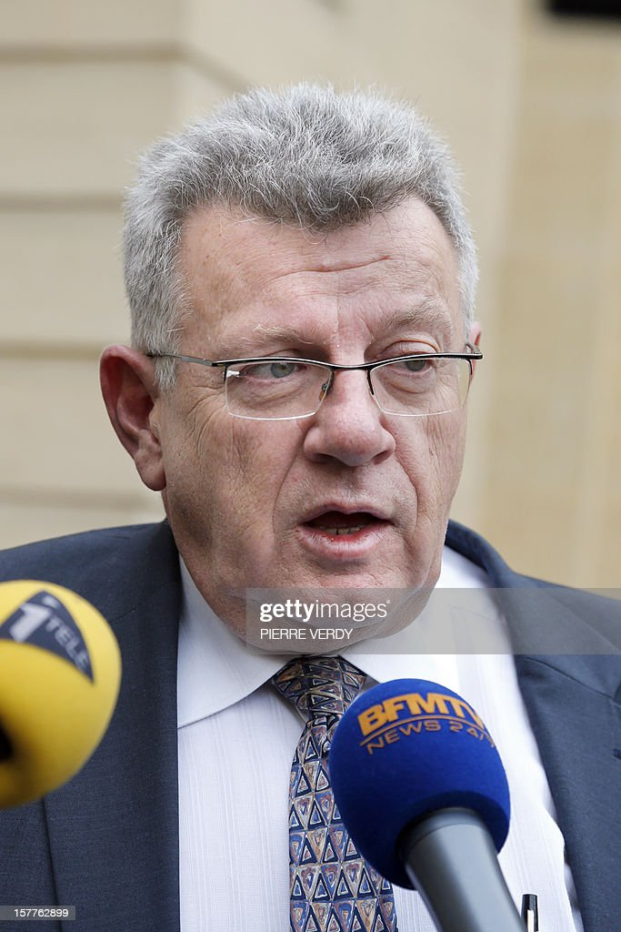 French MP Christian Eckert speaks to the press at the Hotel Matignon after a meeting with French Prime Minister Jean-Marc Ayrault and a delegation of French MPs of the Lorraine region focused on the ArcelorMittal plant of Florange, on December 6, 2012 in Paris.