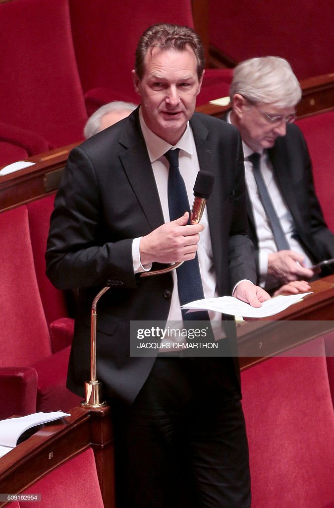 French MP Lionel Tardy speaks at the French National Assembly in Paris on February 9, 2016, as French lawmakers examined proposed changes to the constitution. France's lower house of parliament is to vote on plans to enshrine a state of emergency into the constitution, including a controversial measure to strip French nationality from those convicted of terrorism and serious crimes. / AFP / JACQUES DEMARTHON