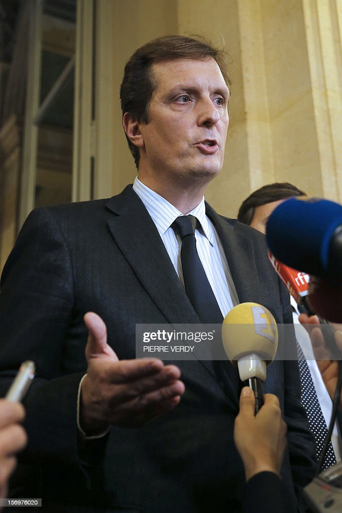 French MP of right-wing opposition party UMP, Jerome Chartier, ally of former prime Minister Francois Fillon, the defeated candidate for the leadership of the UMP speaks to journalists on November 26, 2012 in Paris at the National Assembly. The statement takes part after the meeting of the UMP's appeal elections control board which confirmed the decision of the UMP's elections control committee (COCOE) declaring the victory of Jean-Francois Cope as new president of UMP, elected on November 18, 2012. The appeal followed the failure of a mediation with the right-winger Cope, who was declared the winner of November 22 knife-edge vote to pick a party leader, Jean-Francois Cope, and his centrist rival Francois Fillon.