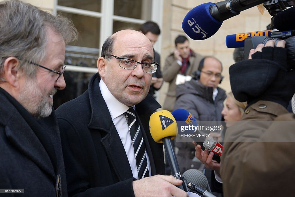 French MP of the Lorraine region Michel Liebgott speaks to the press after a meeting at the Hotel Matignon with French Prime Minister Jean-Marc Ayrault focused on the ArcelorMittal plant of Florange, on December 6, 2012 in Paris.