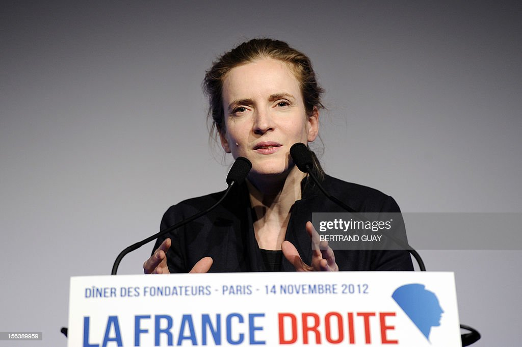 French MP of the Union for a Popular Movement right-wing opposition party (UMP) and former Minister, Nathalie Kosciusko-Morizet delivers a speech during the launching of her political movement 'La France Droite', on November 14, 2012 in Paris.