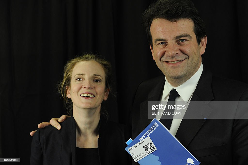 French MP of the Union for a Popular Movement right-wing opposition party (UMP) and former Minister, Nathalie Kosciusko-Morizet poses with UMP MP Thierry Solere during the launching of her political movement 'La France Droite', on November 14, 2012 in Paris.