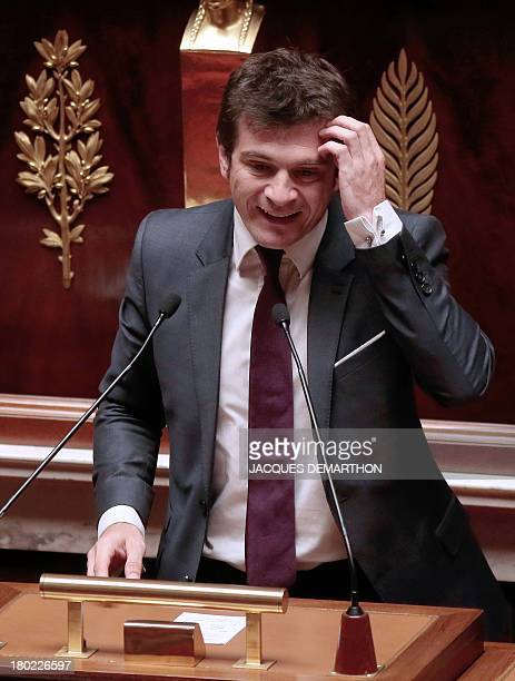 French MP of the Union for a Popular Movement rightwing opposition party Benoist Apparu delivers a speech during a debate on housing on September 10...