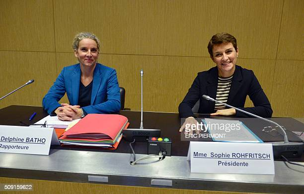 French MP Sophie Rohfritsch and French MP Delphine Batho pose during the hearing of the president of Volkswagen Group France Jacques Rivoal by a...