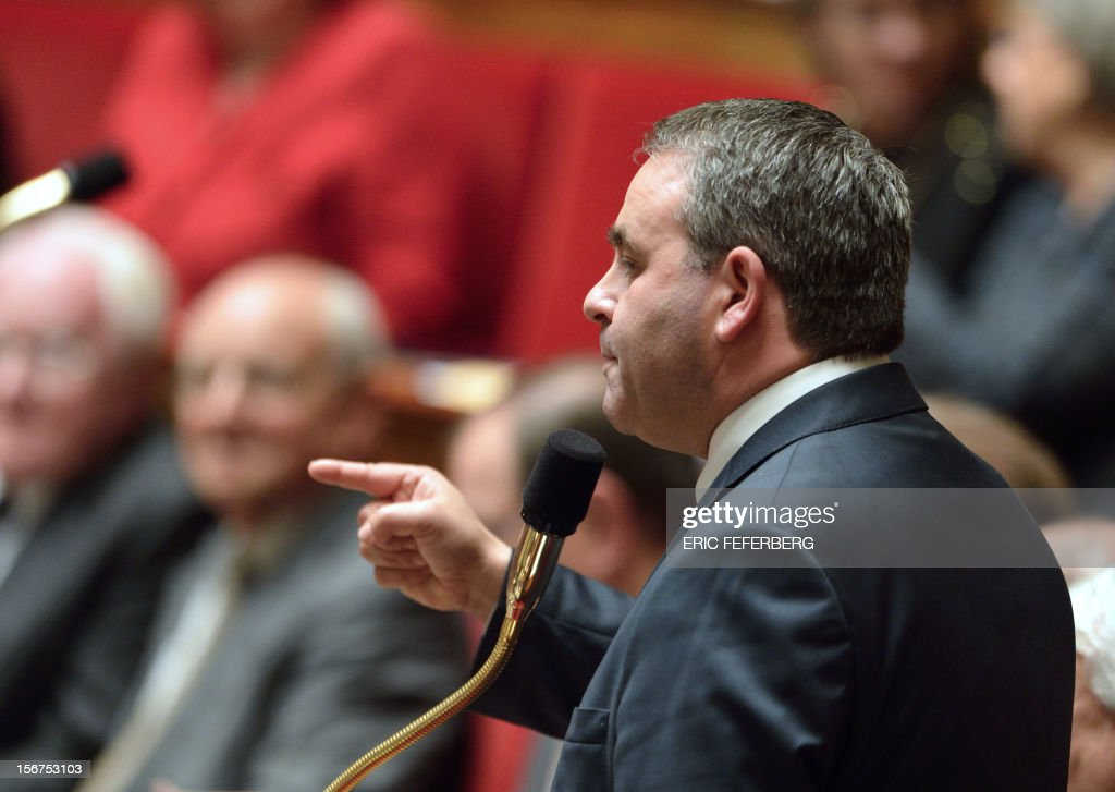 French MP, Xavier Bertrand speaks during the weekly session of questions at the National Assembly on November 20, 2012 in Paris.
