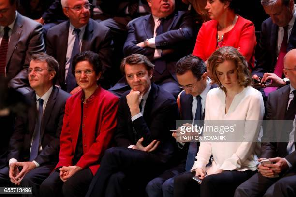French MPs Francois Baroin and Nathalie KosciuskoMorizet attend a debate between five candidates for the French presidential election organised by...