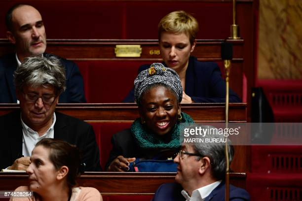 French MPs of the leftist La France Insoumise party Sabine Rubin party leader JeanLuc Melenchon Eric Coquerel Daniele Obono Loic Prud'homme and...