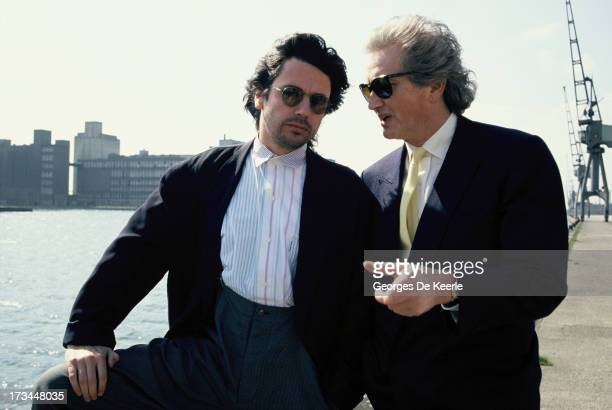 French musician and composer Jean Michel Jarre and his father composer Maurice Jarre pose together in London England on April 12 1988