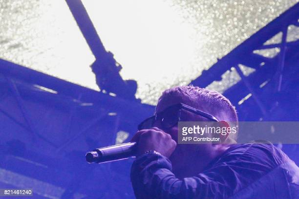 French musician DJ Snake whose real name is William Grigahcine performs during the Lollapalooza music festival at the Longchamp Hippodrome in Paris...