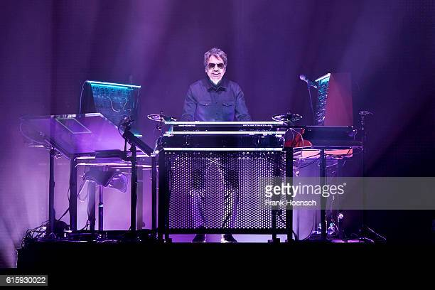 French musician Jean Michel Jarre performs live during a concert at the MercedesBenz Arena on October 20 2016 in Berlin Germany