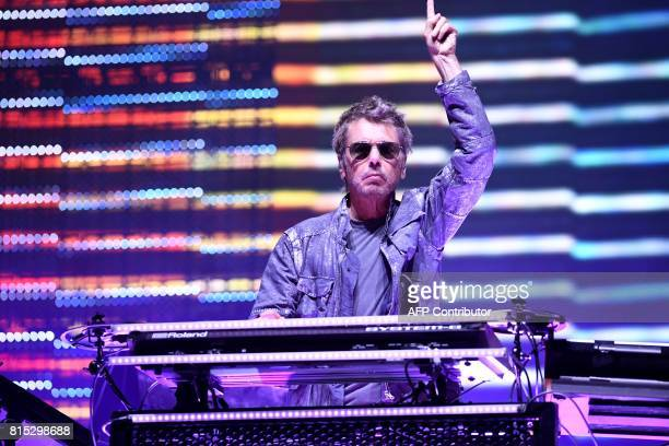 French musician JeanMichel Jarre performs July 15 2017 in CarhaixPlouguer western France during the third day of the 26th edition of the 'Vieilles...